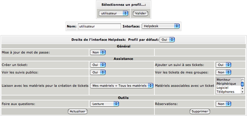 Définition de l'interface : HelpDesk