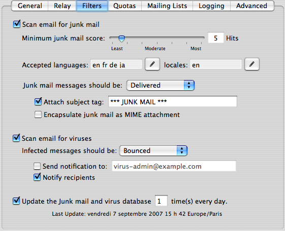 Filtres anti-virus et anti-spam